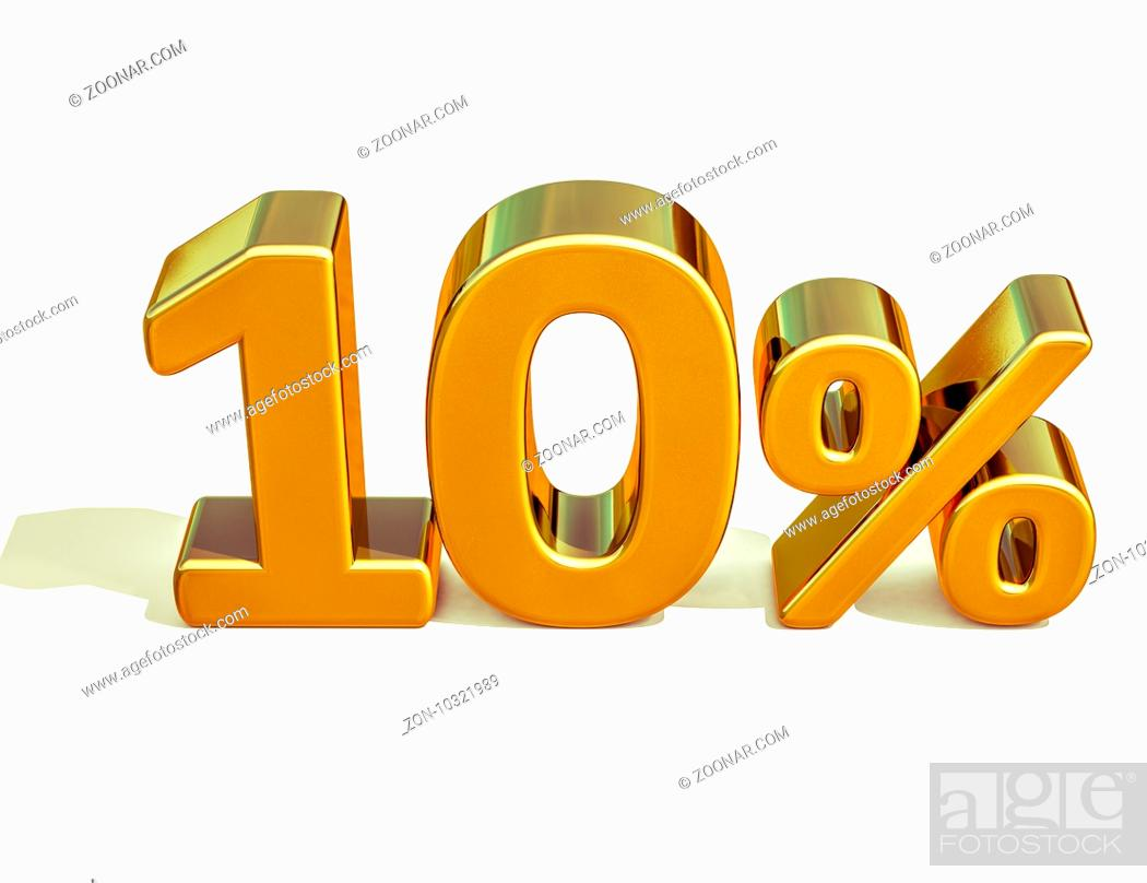 Stock Photo: Gold Sale 10%, Gold Percent Off Discount Sign, Sale Banner Template, Special Offer 10% Off Discount Tag, Ten Percentages Up Sticker, Gold Sale Symbol.