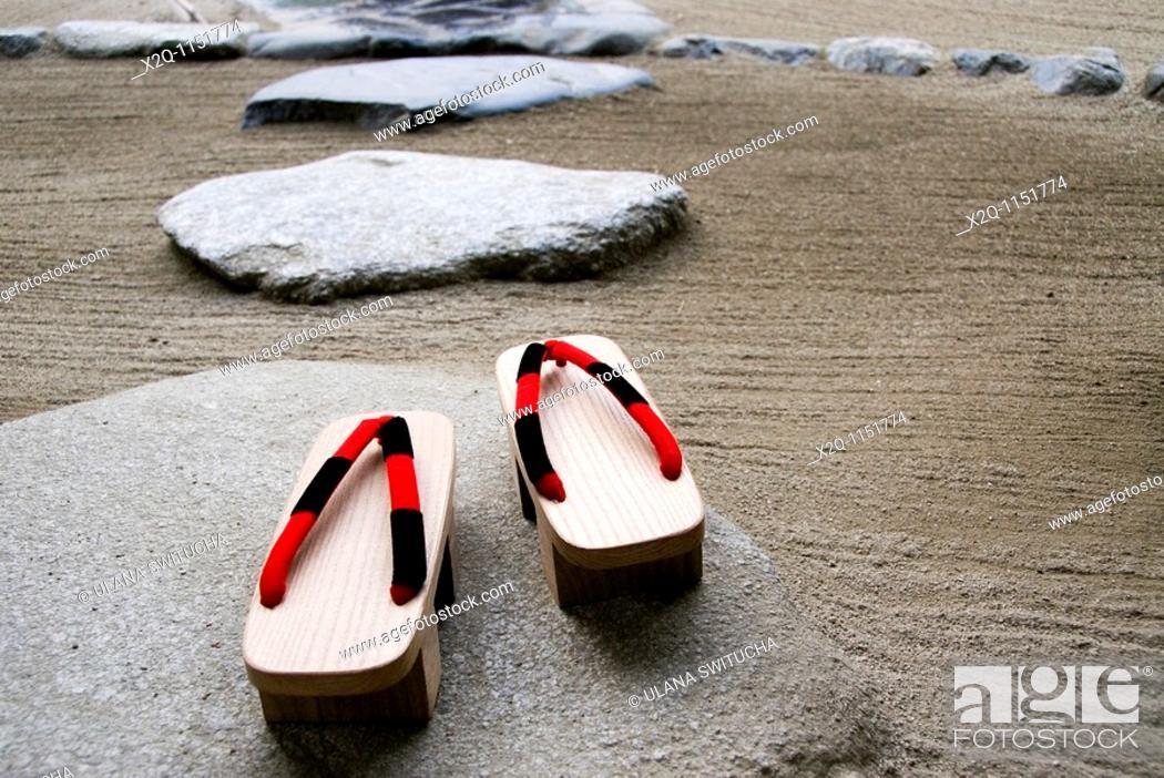 Stock Photo: Geta in a zen garden Kyoto Japan.