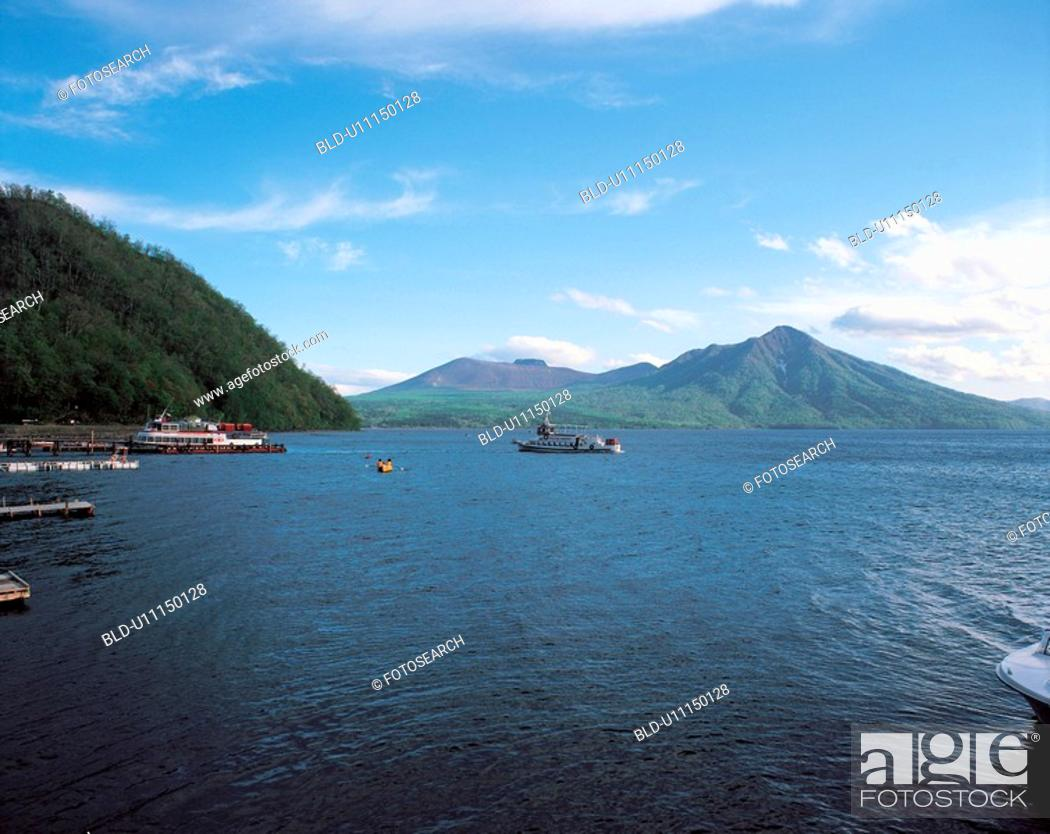 Stock Photo: sky, mountain, landscape, scenery, nature, cloud, river.