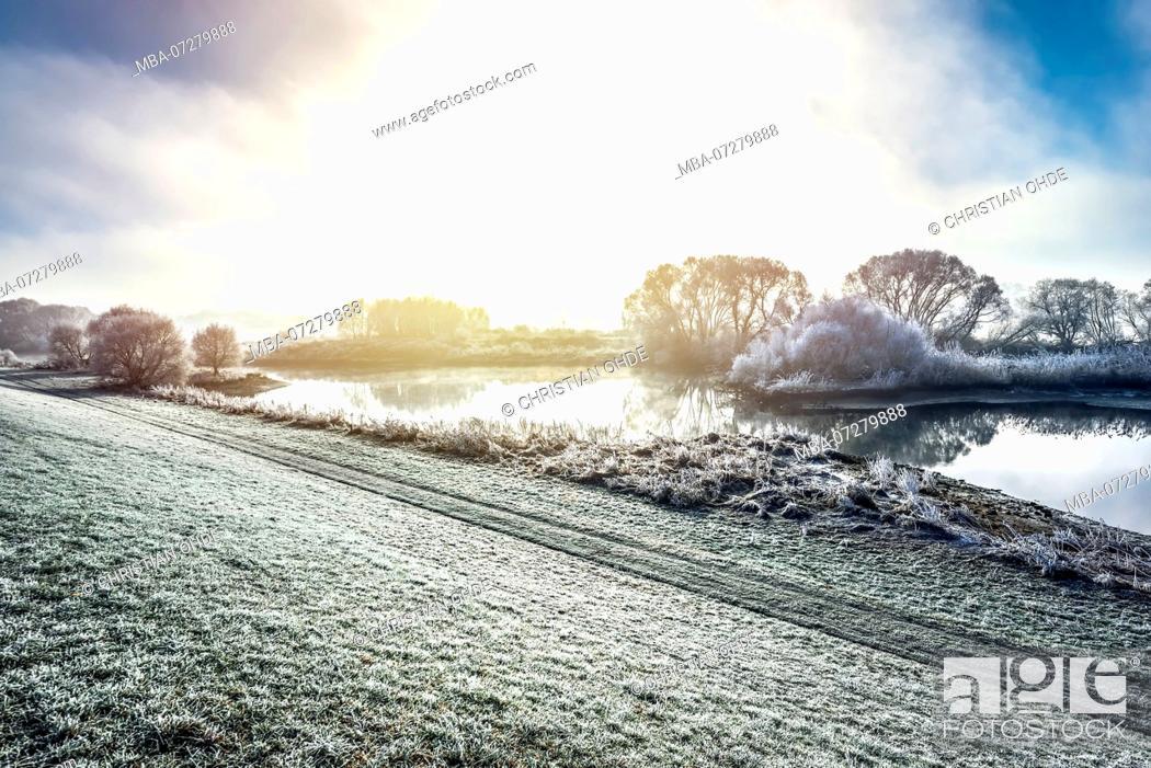 Stock Photo: Germany, Hamburg, Kirchwerder, winter Elbe landscape.
