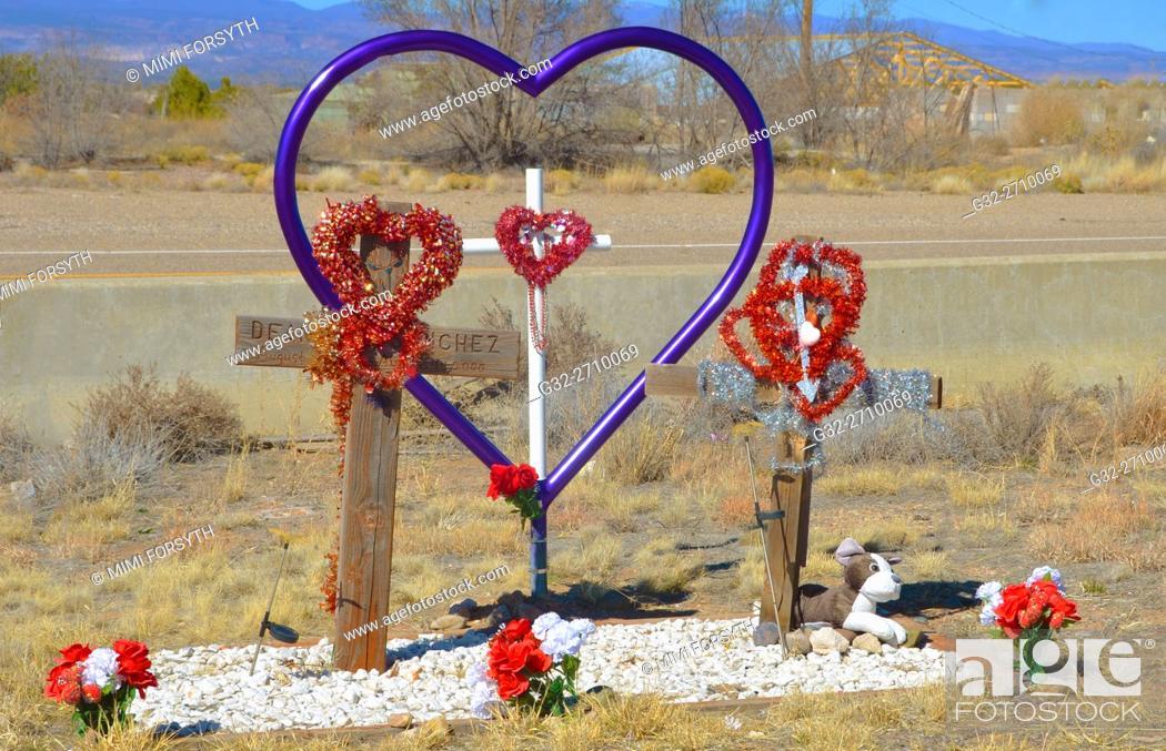 Stock Photo: roadside memorial to automobile accident victim. New Mexico.
