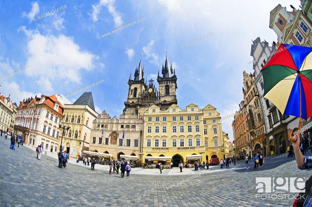 Stock Photo: Old Town Square with Tyn Church, Prague , Czech Republic, East Europe, Prague, Czech Republic, East Europe.
