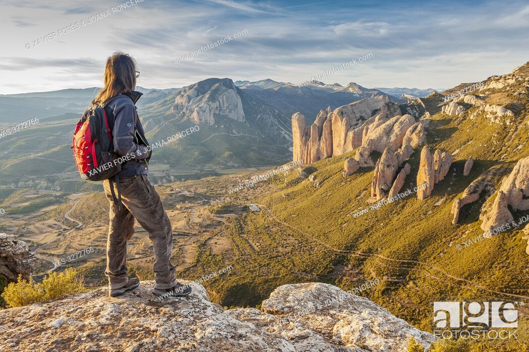 Stock Photo: Mallos de Riglos at sunset, Riglos, La Hoya, Huesca, Spain.