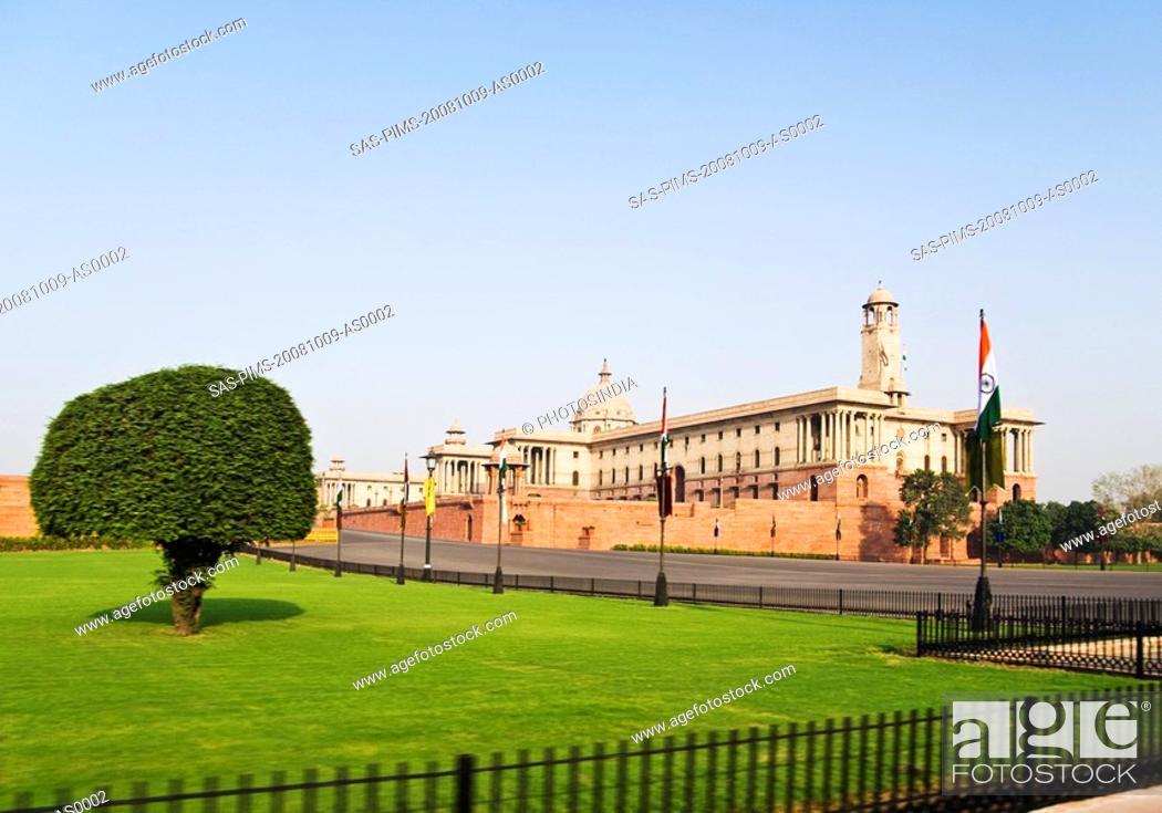 Stock Photo: Facade of a government building, Rashtrapati Bhavan, New Delhi, India.