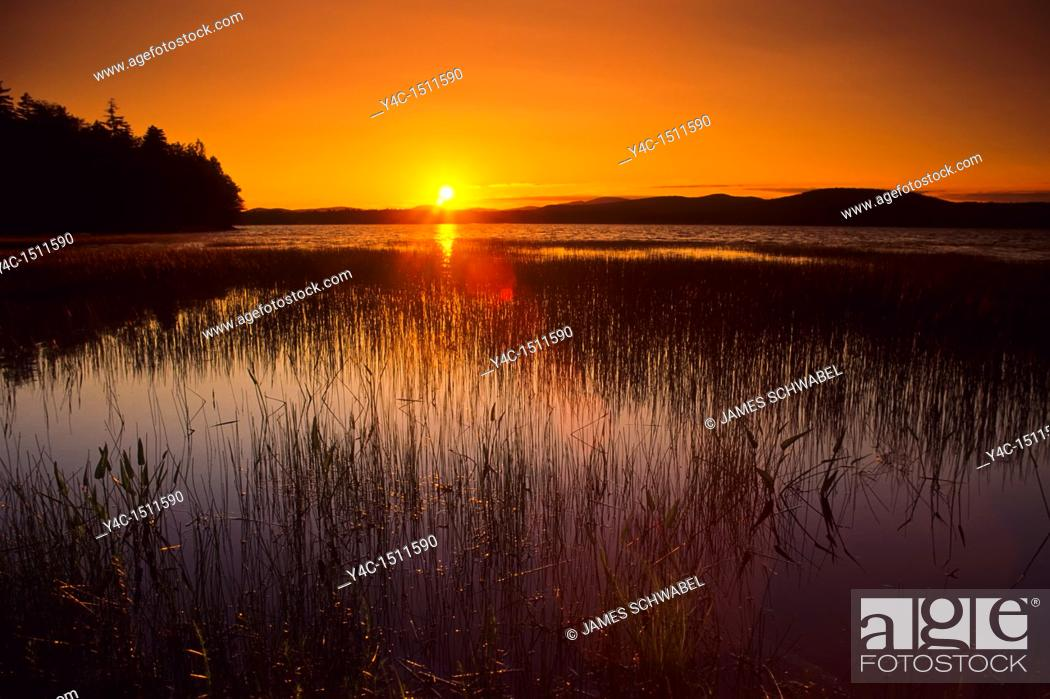 Stock Photo: Sunset over Lake Pleasant in Speculator in the Adiroindack Mountains of New York.