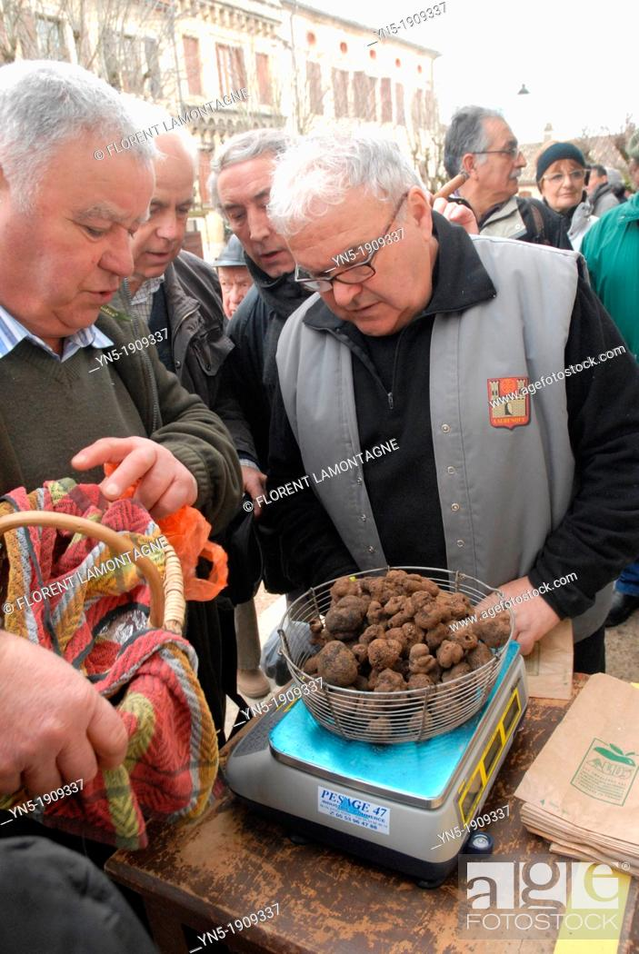 Stock Photo: Traditional french Truffles' market in Lalbenque, in Perigord, France.