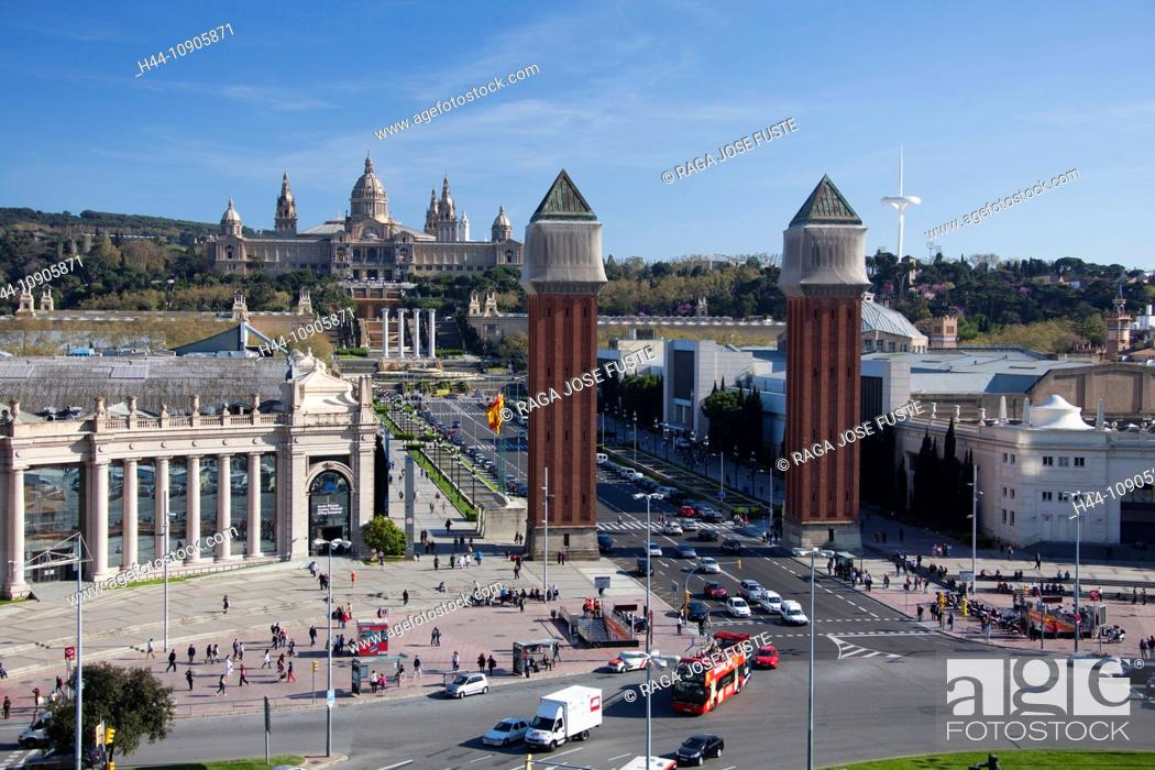Stock Photo: Spain, Europe, Catalunya, Barcelona, Espana Square, Montjuich, Palace, National Museum, Venetian Towers,.
