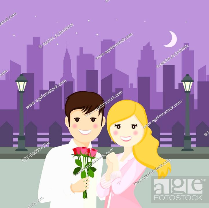 Stock Vector: Couple of lovers on a romantic date with night square background.