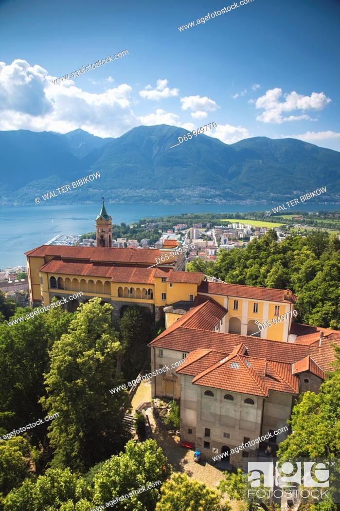 Stock Photo: Switzerland, Ticino, Lake Maggiore, Locarno, Madonna del Sasso church.