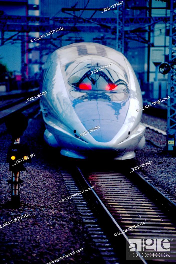 Stock Photo: Shinkansen bullet train Tokyo Japan.