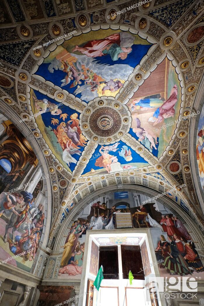Stock Photo: Ceiling Vatican Museum Rome Italy IT EU Europe.