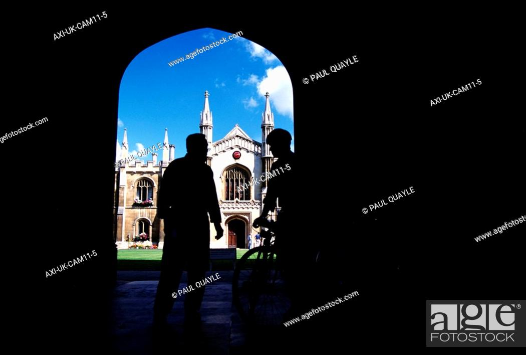 Stock Photo: Students standing before entrance to Corpus Christi College.