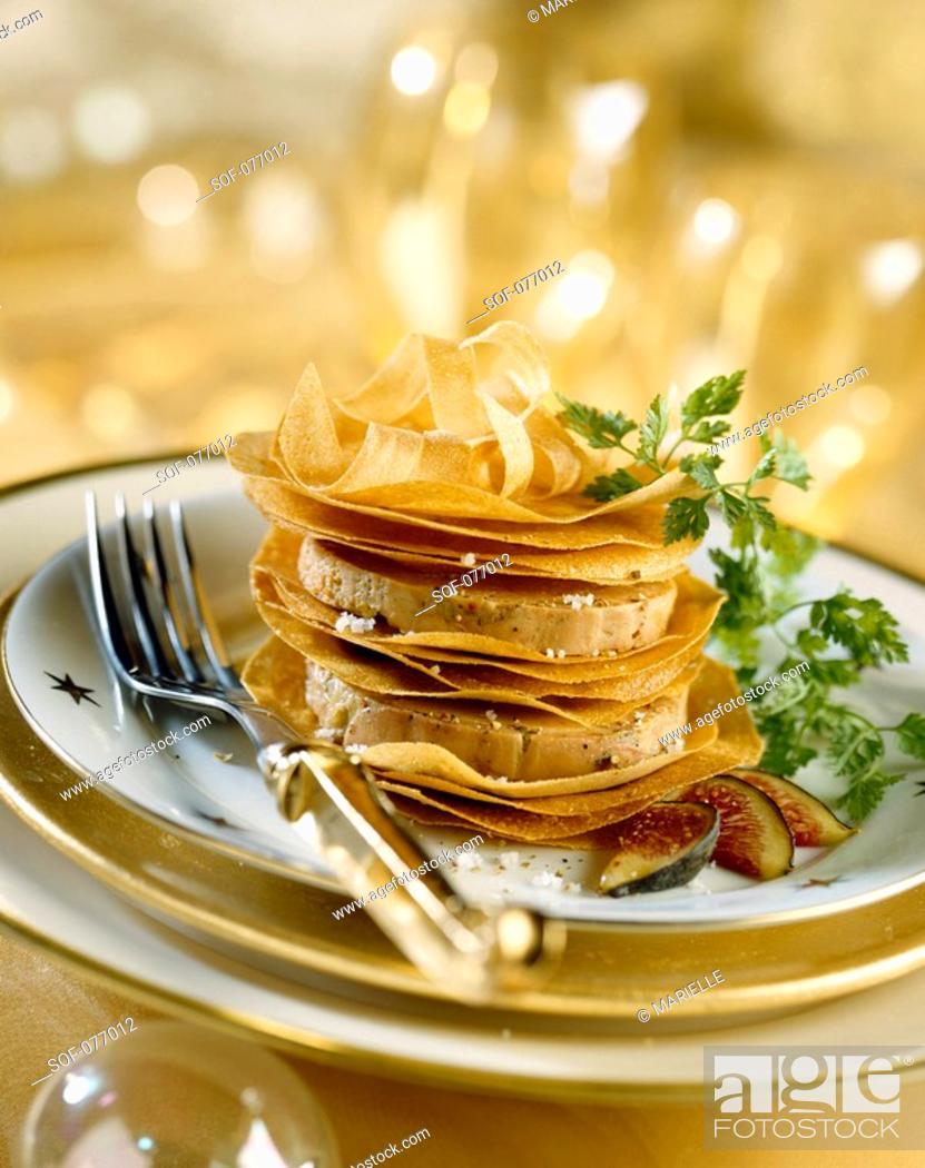 Stock Photo: foie gras in flaky pastry.