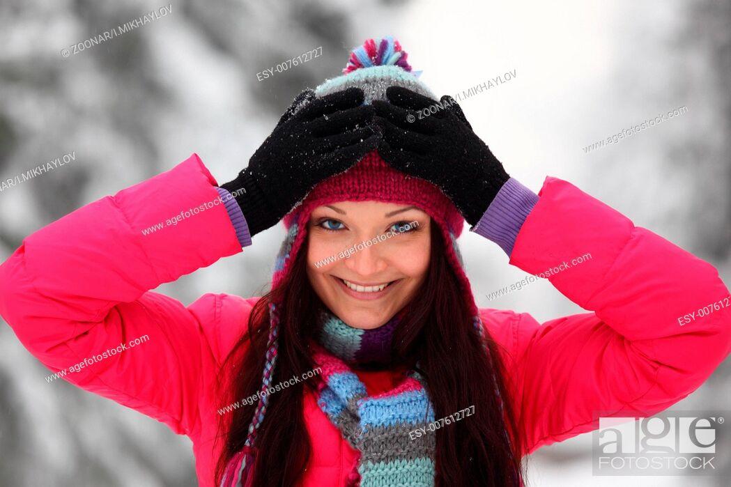 Stock Photo: winter women close up portrait.
