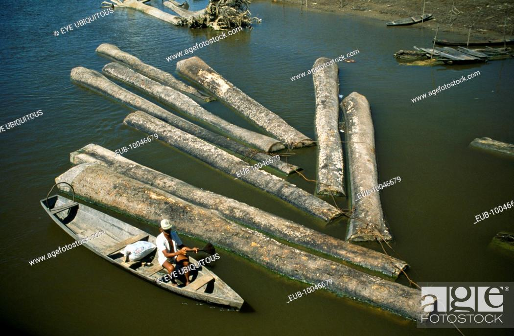 Floating logs down river, Stock Photo, Picture And Rights