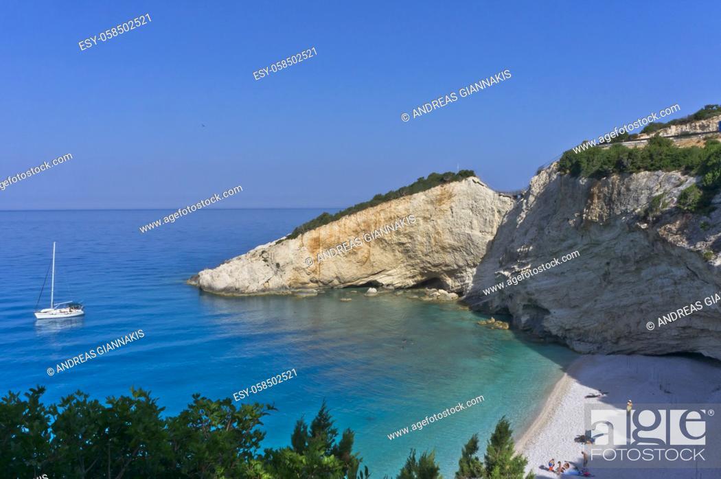 Stock Photo: Lefkada Island, Porto Katsiki Beach view, Greece.
