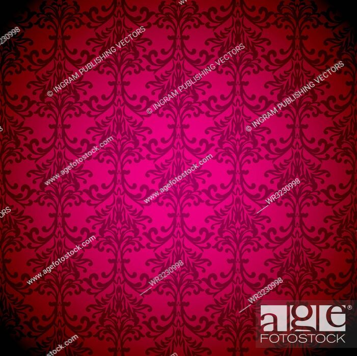Vector: Magenta floral inspired wallpaper background with seamless repeat design.