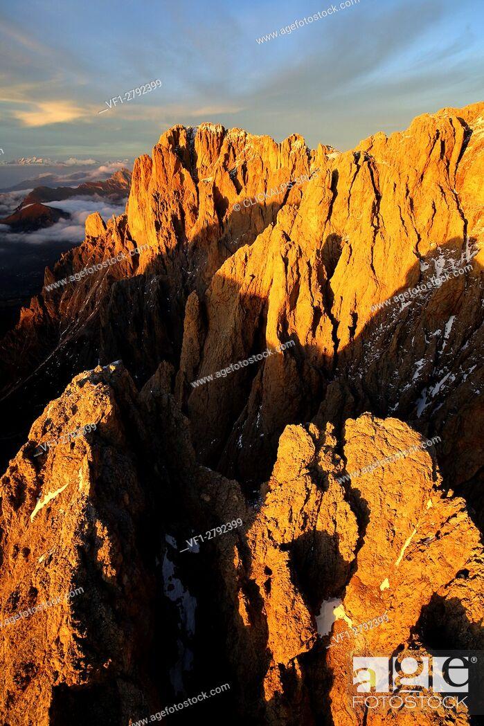 Stock Photo: Aerial shot of Sassolungo and Sassopiatto at sunset. Sella Group Val Gardena. Dolomites Trentino Alto Adige Italy Europe.