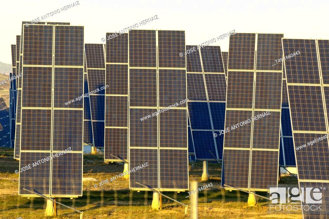 Stock Photo: Sun power plant in Navarre.