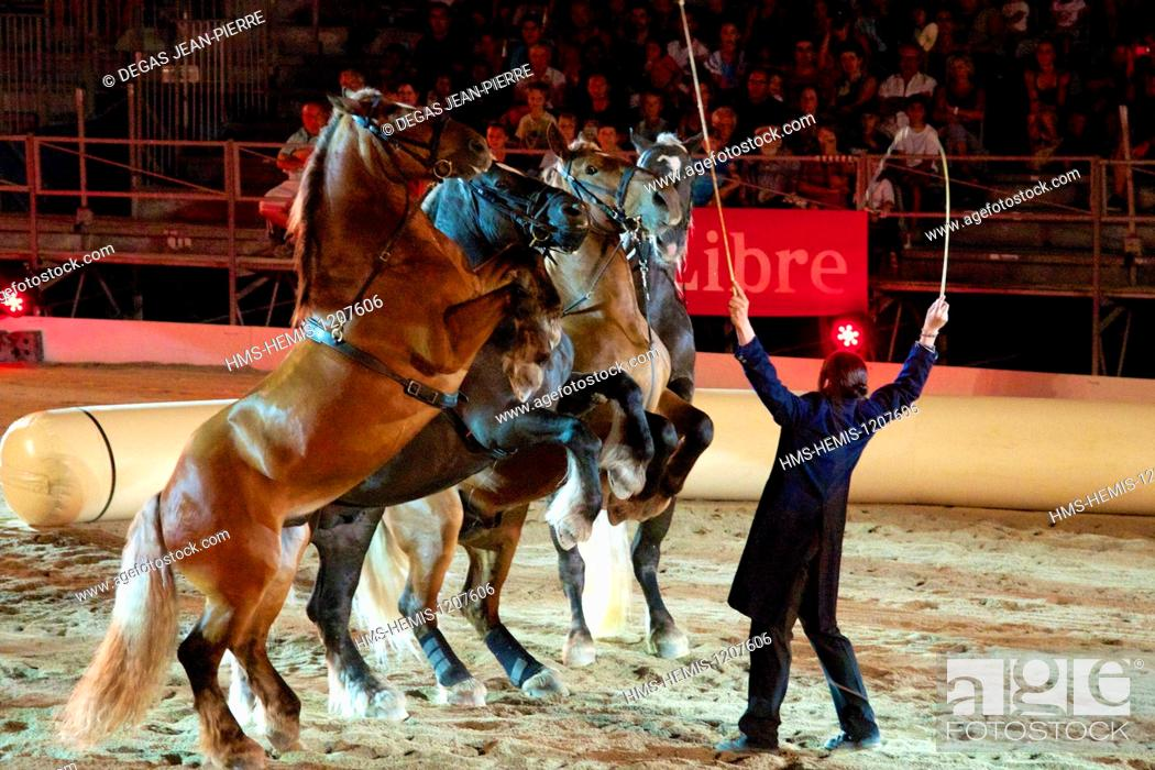 Stock Photo: France, Herault, Beziers, place of July 14th, annual Feria in the streets of the city, the equestrian shows.