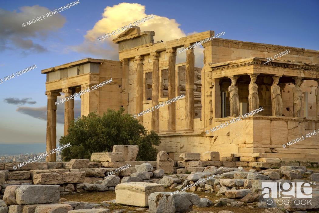 Stock Photo: Caryatids Erechtheion on Parthenon Athens Greece.