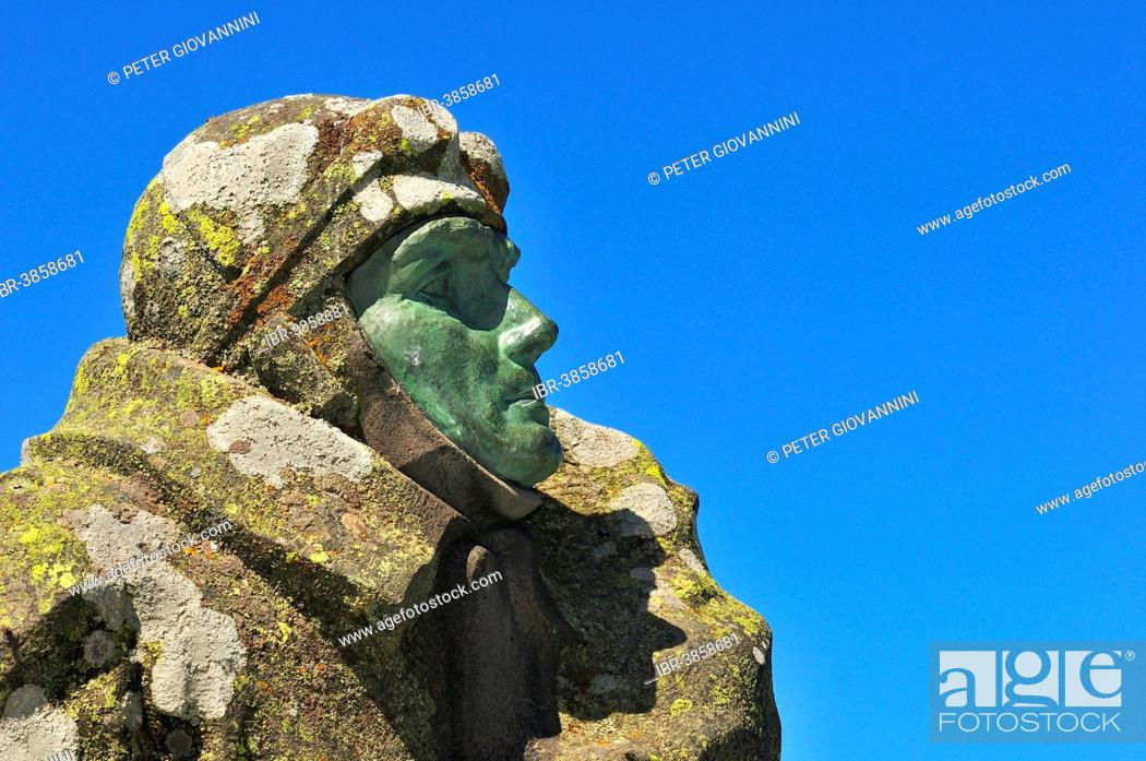 Stock Photo: Monument to the aviation pioneer Eugène Renaux on the summit of the Puy de Dôme volcano, Puy-de-Dôme, France.
