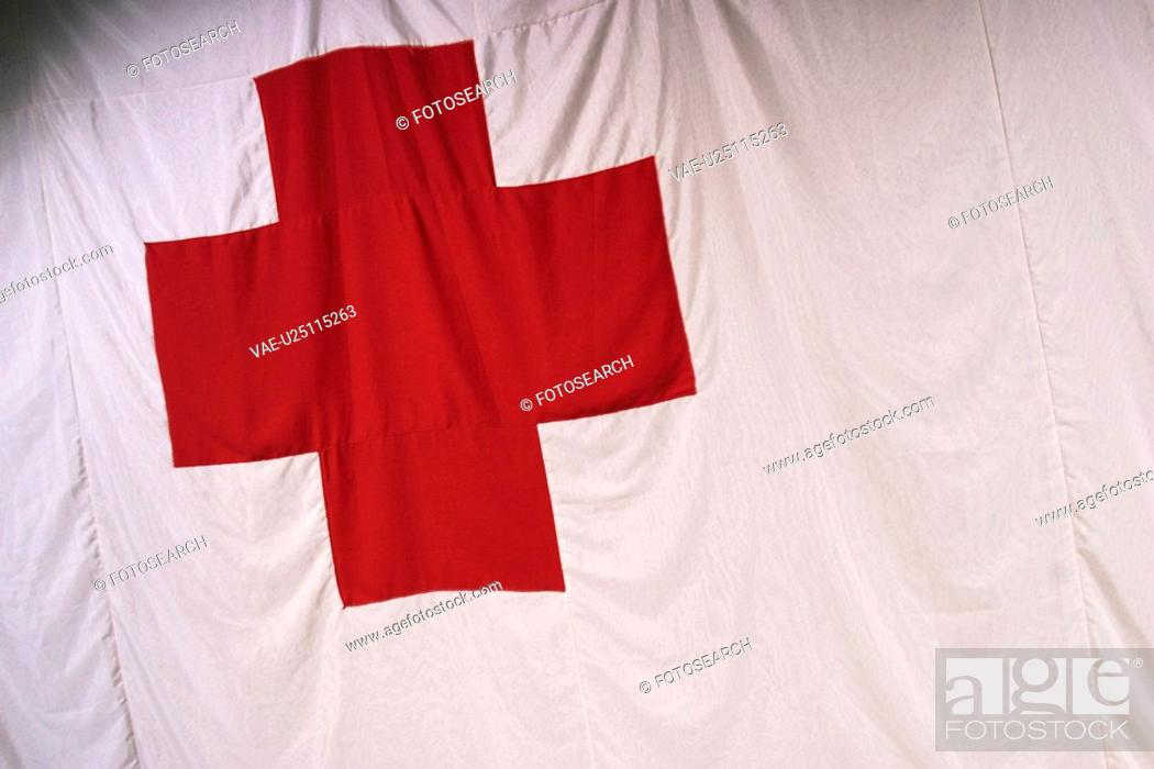 Stock Photo: red, white, bold, cross, detail, pattern.