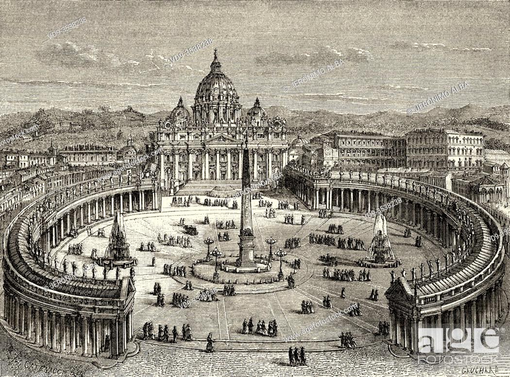 Imagen: View of the colonnade around the square and St Peter's basilica, Rome. Italy, Europe. Trip to Rome by Francis Wey 19Th Century.