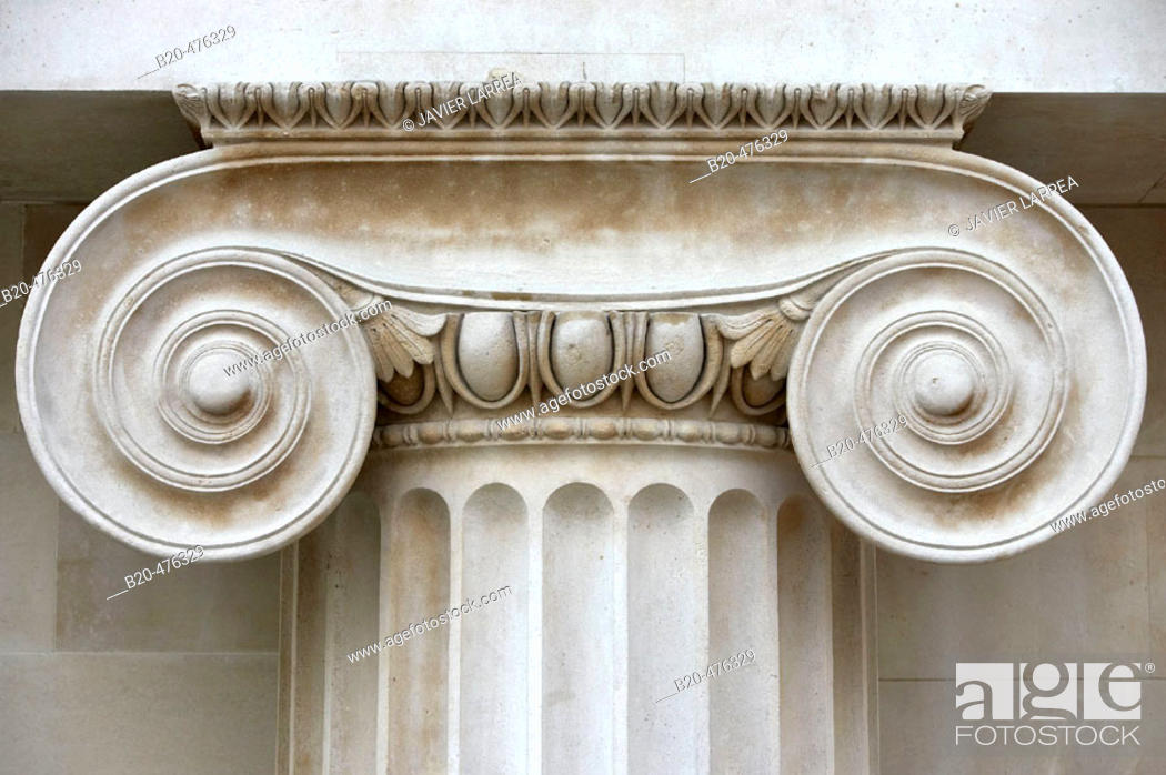 Stock Photo: Ionic column at the Great Court of the British Museum, London. England, UK.