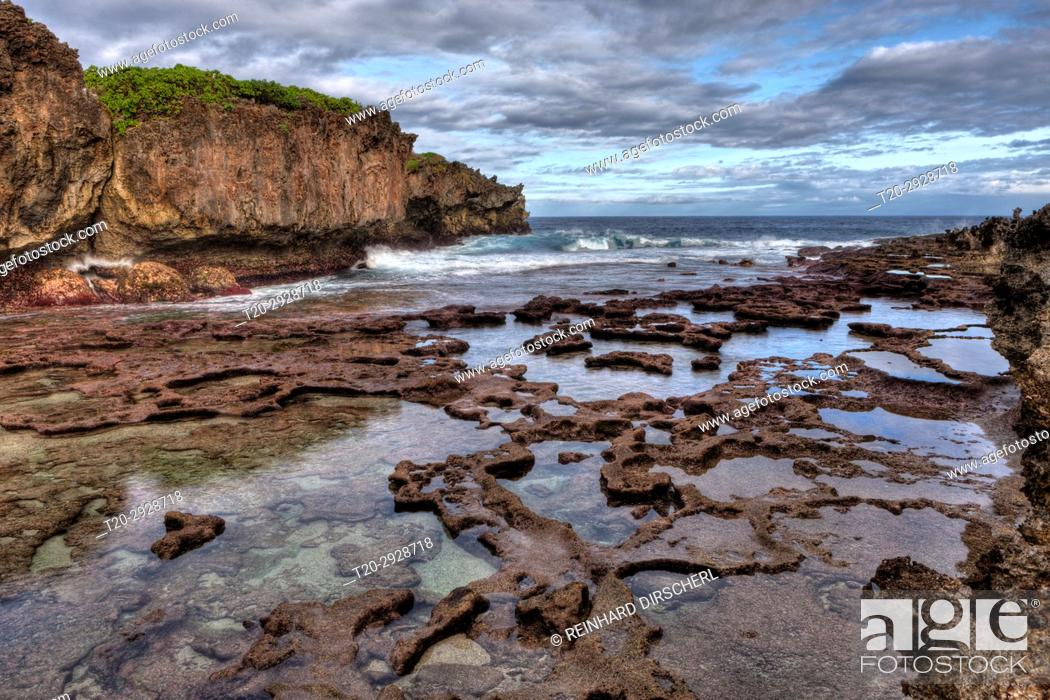 Stock Photo: Coral Rock Pools at Lily Beach, Christmas Island, Australia.