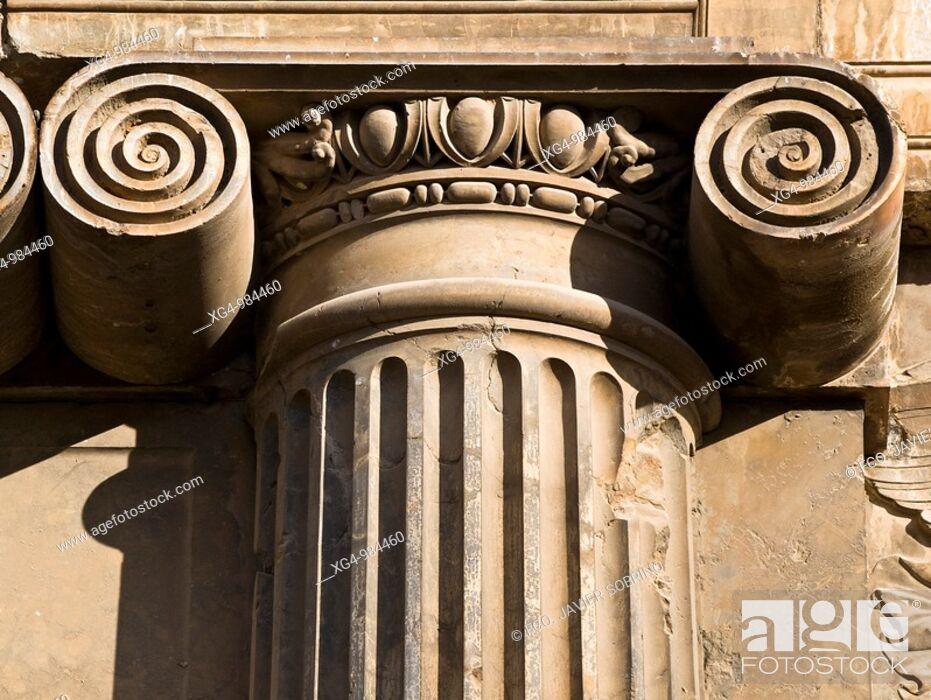 Stock Photo: Columna con capitel de estilo jónico en la fachada del Palacio Real de Carlos V en la Alhambra de Granada, obra de Pedro Machuca.
