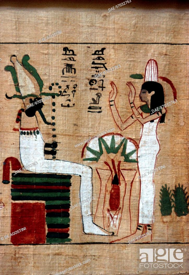Imagen: Osiris upon his throne, scene from the Book of the Dead, funerary papyrus. Egyptian civilisation. Detail.  Cairo, Egyptian Museum.