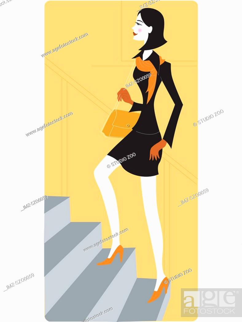 Stock Photo: Businesswoman walking up a staircase.