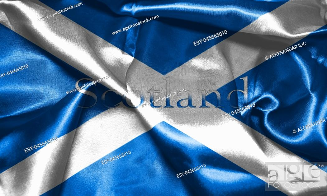 Stock Photo: Flag Of Scotland With Country Name On It 3D illustration.