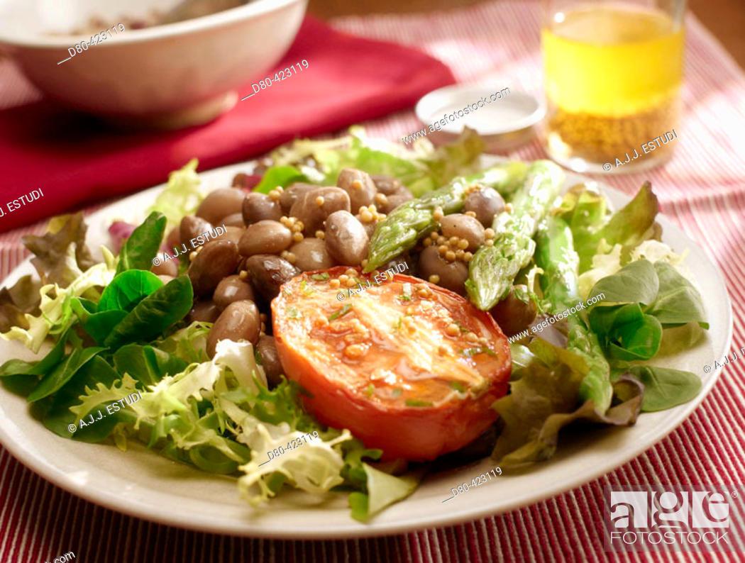Stock Photo: Beans and asparagus salad.