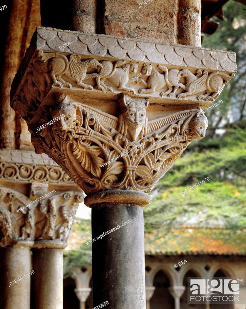 Stock Photo: Detail of Romanesque capitals in the late 9th century cloister in the Saint-Pierre Abbey, Moissac, France.