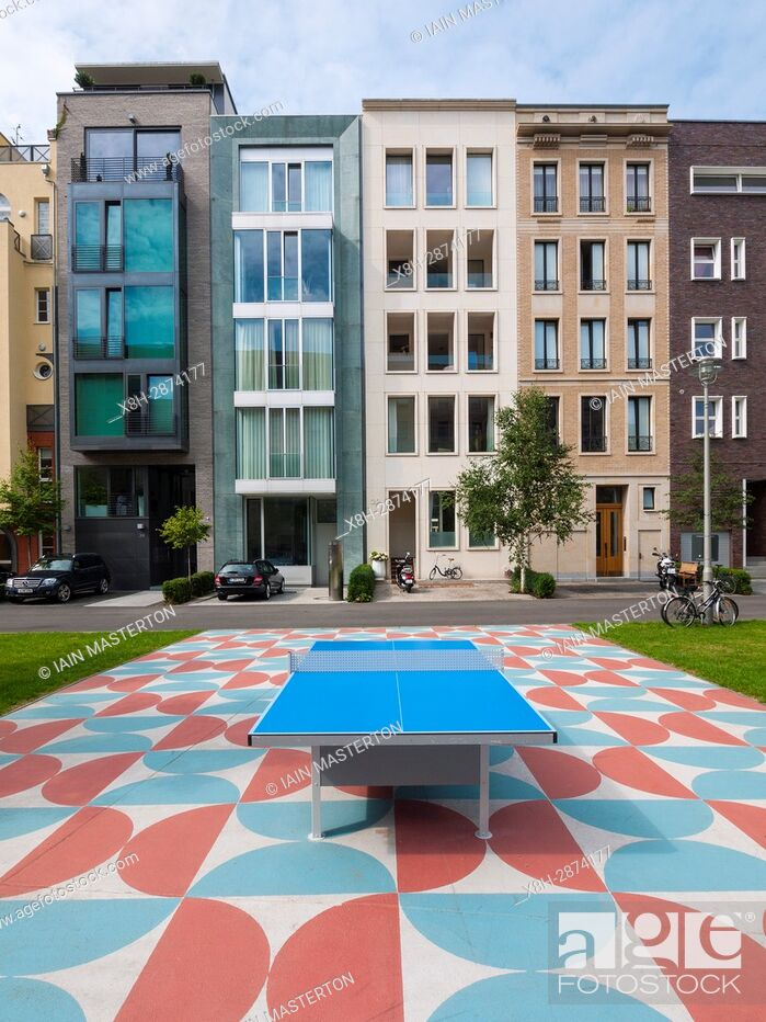 Stock Photo: Modern luxury townhouses in Mitte district of Berlin, Germany.