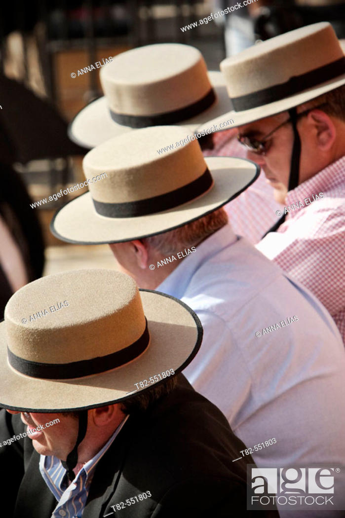 Stock Photo: Bullfight spectators with typical hats. Real Maestranza de Sevilla. Andalucia. Spain.