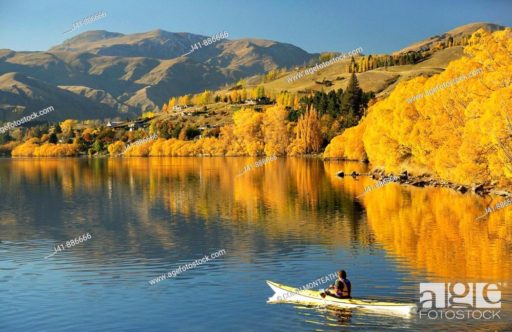 Stock Photo: Kayaking on Lake Hayes near Arrowtown Central Otago New Zealand.