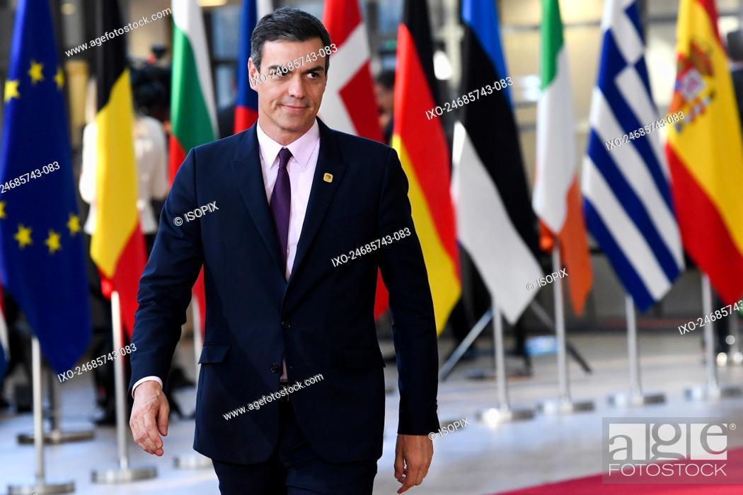 Stock Photo: Brussels , 10/04/2019 Extraordinary meeting of the European Council , Art. 50 , Brexit . Pix : Pedro Sanchez Perez Castejon Credit : Frederic Sierakowski /.