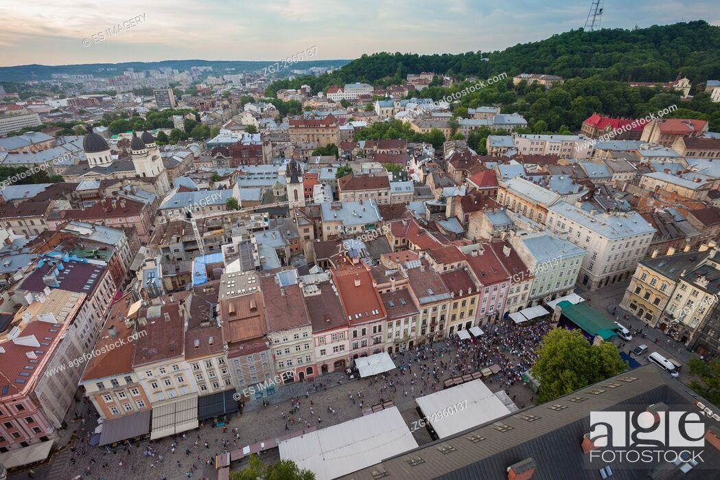Stock Photo: View over the old town of Lviv, Ukraine.