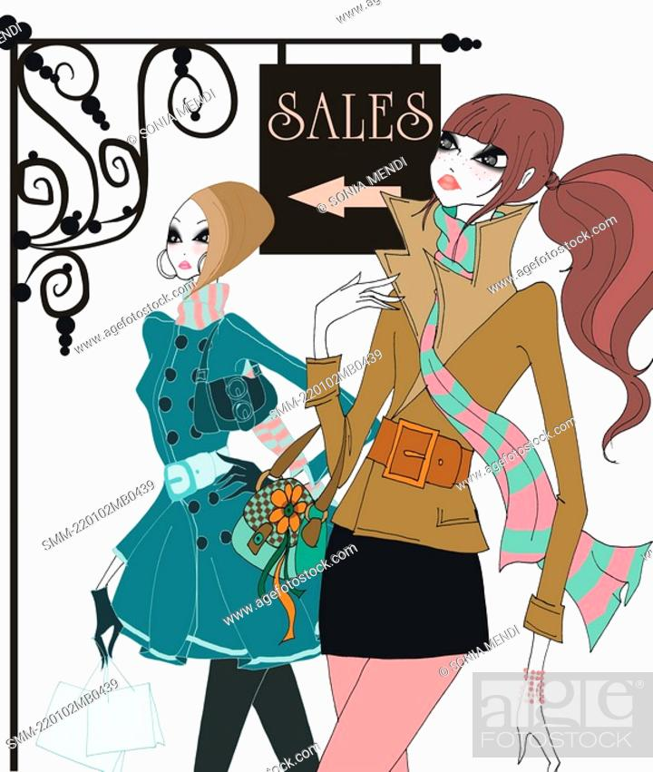 Stock Photo: Young women shopping at sales.
