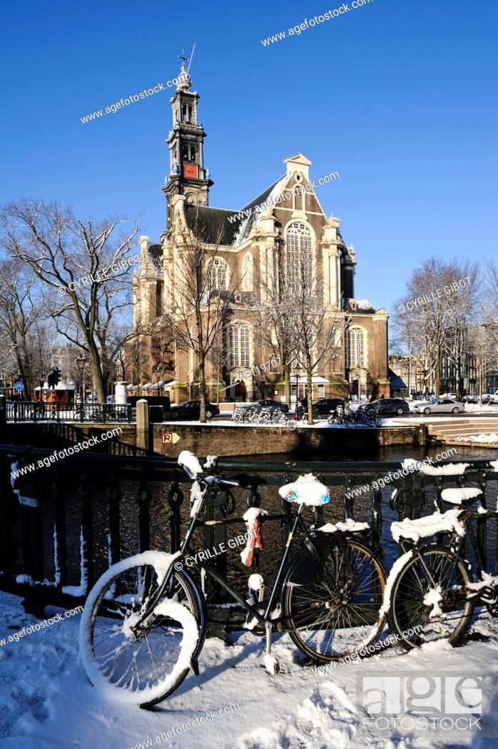 Stock Photo: Westerkerk in winter, Amsterdam, the Netherlands.