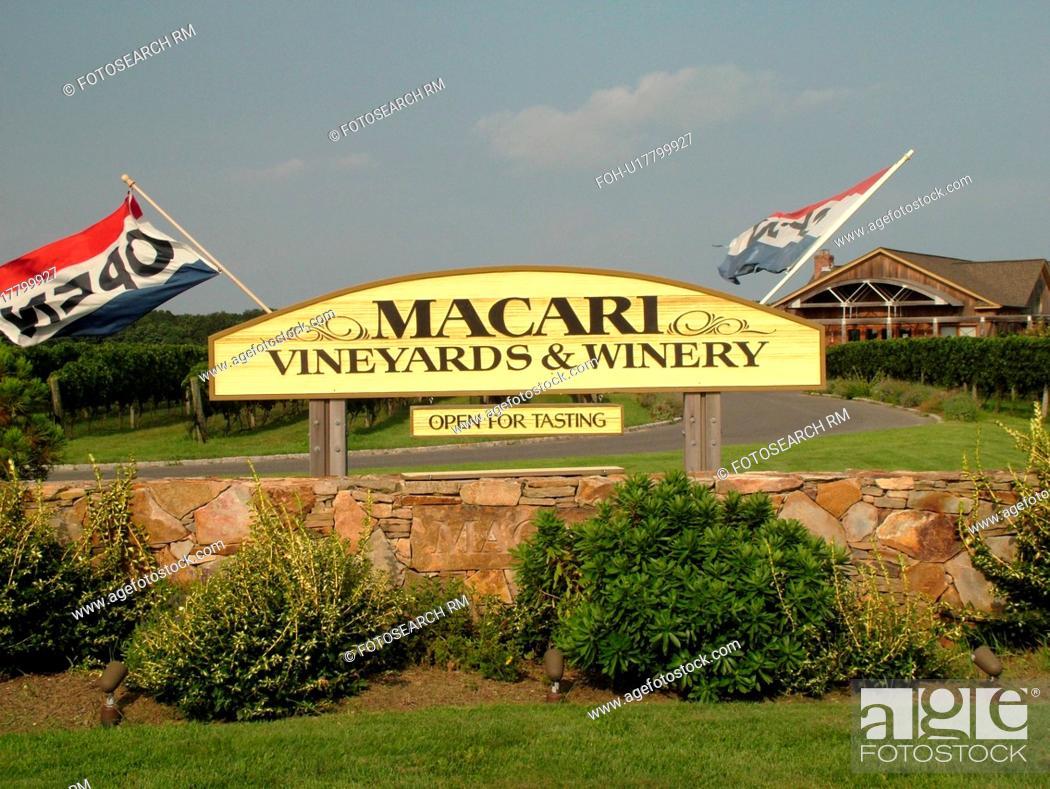 Stock Photo: Mattituck, NY, Long Island, New York, Macari Vineyards and Winery, entrance.
