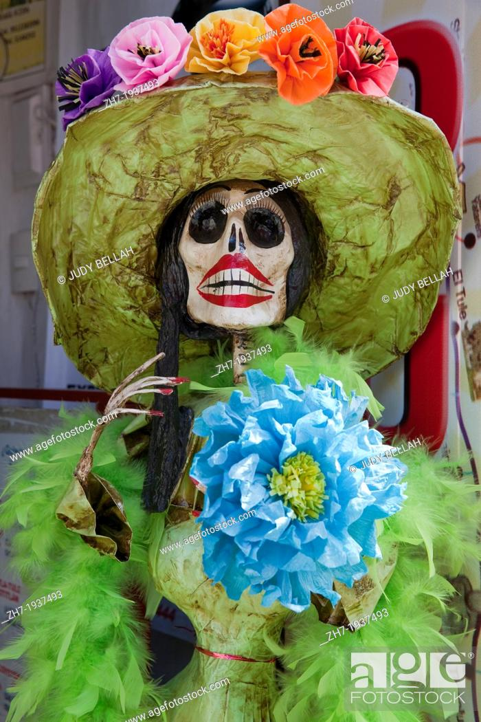 Life size papier mache skeleton with paper flowers on display during stock photo life size papier mache skeleton with paper flowers on display during day of the dead festival in oaxaca mexico mightylinksfo