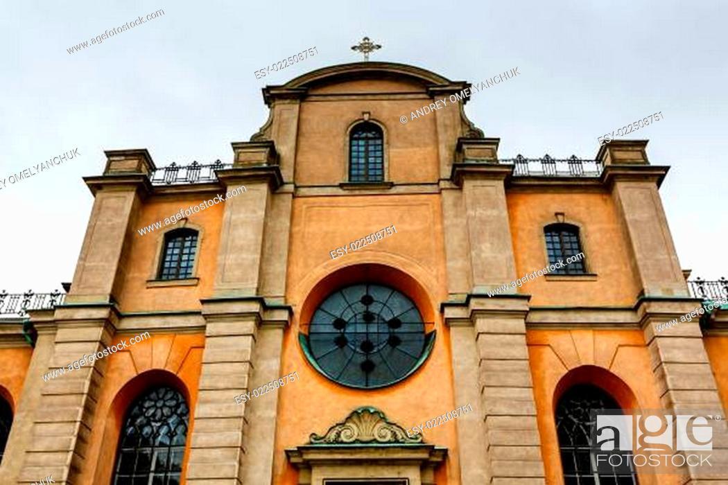 Stock Photo: Cathedral of Saint Nicholas (Storkyrkan) Facade, Stockholm, Swed.