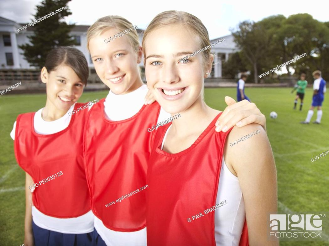 Stock Photo: Kids in school gym uniforms.
