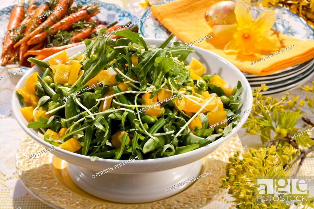 Magnificent Green Bean Salad On An Easter Buffet Sweden Stock Photo Interior Design Ideas Lukepblogthenellocom
