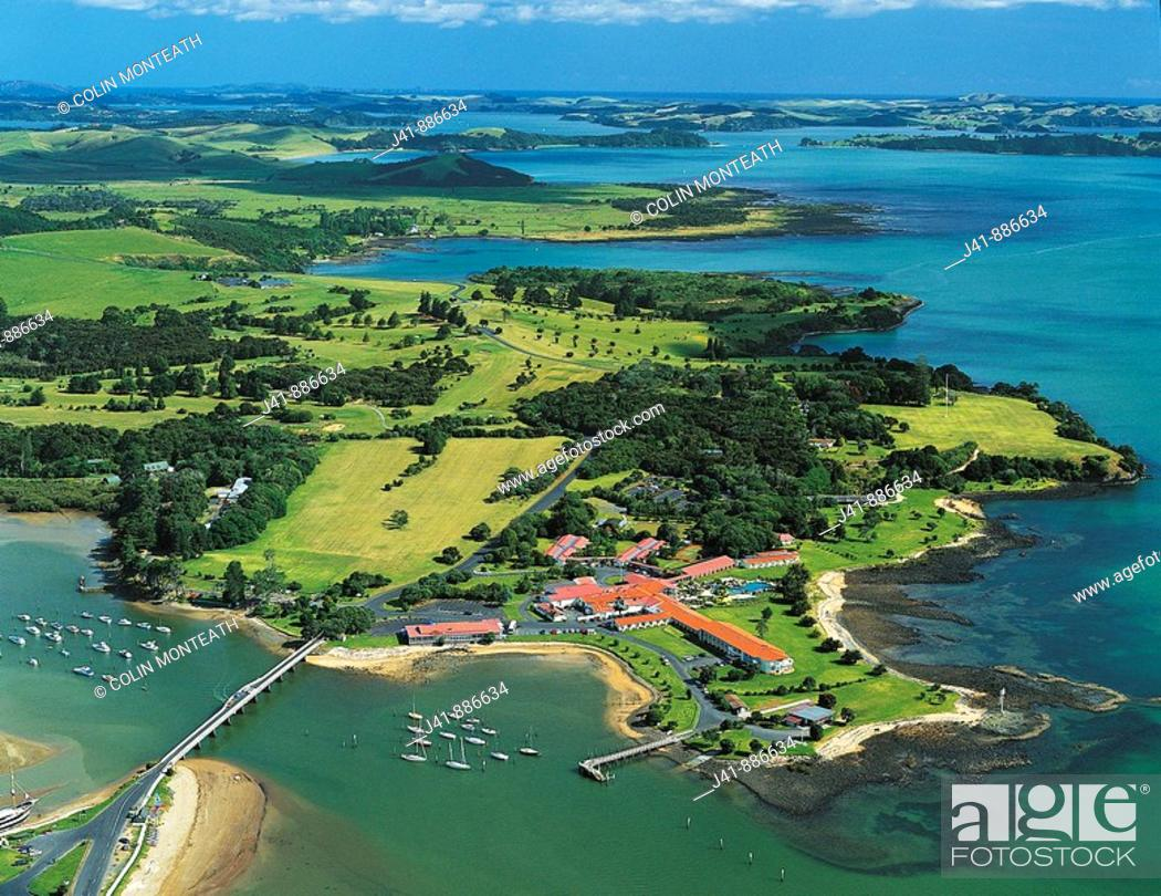 Stock Photo: Aerial view of Waitangi Bay of Islands New Zealand.