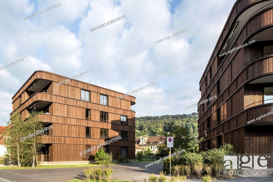 Imagen: Modern, new built housing complex in the village Malters, Switzerland district of Lucerne. Swiss architects Diener + Diener coll.